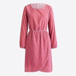 J Crew Factory Pink Velvet Tulip Hem Dress 4 new